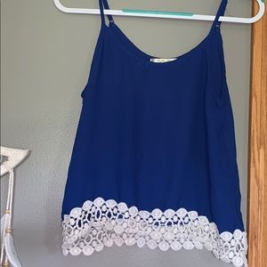 Royal Blue Cami With Lace Bottom